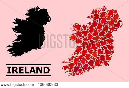 Love Collage And Solid Map Of Ireland Island On A Pink Background. Collage Map Of Ireland Island Is