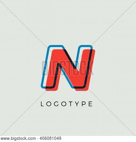 Stunning Letter N With 3d Color Contour, Minimalist Letter Graphic For Modern Comic Book Logo, Carto
