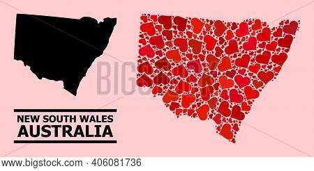 Love Mosaic And Solid Map Of New South Wales On A Pink Background. Mosaic Map Of New South Wales Cre