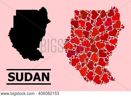 Love Pattern And Solid Map Of Sudan On A Pink Background. Mosaic Map Of Sudan Is Formed With Red Lov