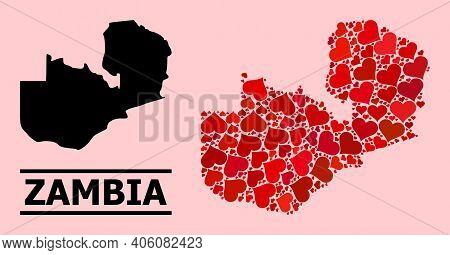 Love Pattern And Solid Map Of Zambia On A Pink Background. Collage Map Of Zambia Created With Red Lo