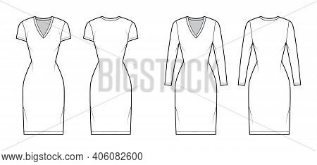 T-shirt Dress Technical Fashion Illustration With V-neck, Long, Short Sleeves, Knee Length, Fitted B