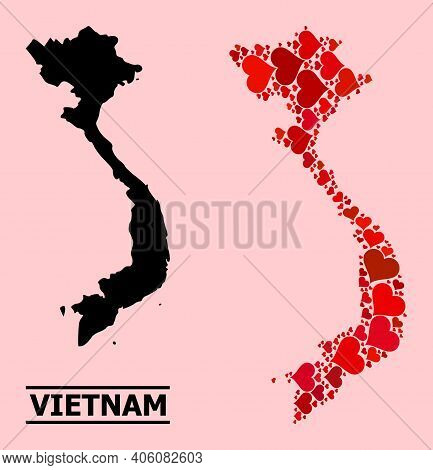 Love Collage And Solid Map Of Vietnam On A Pink Background. Mosaic Map Of Vietnam Is Formed With Red