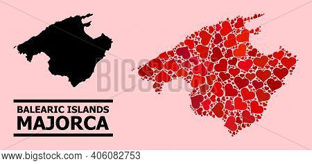 Love Mosaic And Solid Map Of Majorca On A Pink Background. Mosaic Map Of Majorca Created With Red Lo