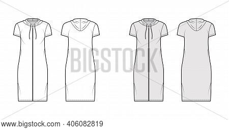 Hoodie Zip-up Dress Technical Fashion Illustration With Short Sleeves, Knee Length, Oversized Body,
