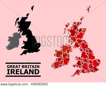 Love Mosaic And Solid Map Of Great Britain And Ireland On A Pink Background. Mosaic Map Of Great Bri