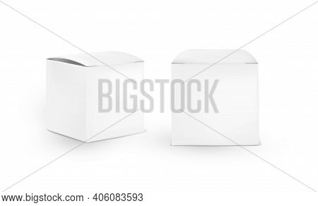 Blank Paper Boxes Mockup. Cardboard Square Cosmetic Box Mockup Isolated On White Background.