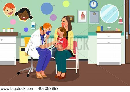 A Vector Illustration Of Doctor Checking On A Kid Wearing Mask
