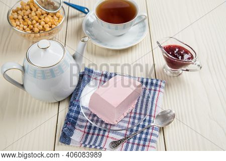 Tea Party With Homemade Jelly Made From Aquafaba And Berries. Healthy Dessert Substitute With Plant-