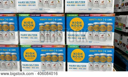 Cases Of High Noon Sun Sips Hard Seltzer Alcohol Beverages At A Sams Club Store.