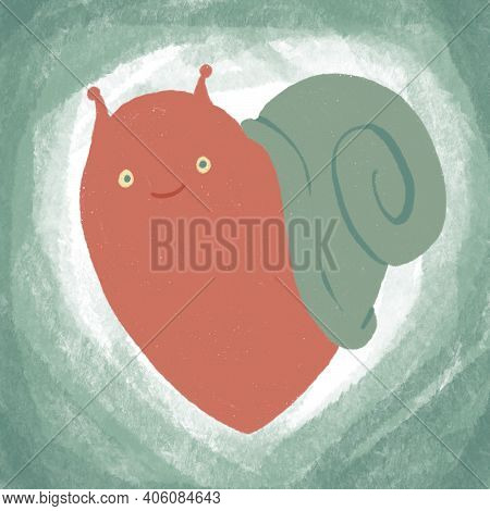 Illustration For Valentines Day, Red Heart - Snail, Cartoon Character, Symbol Of Love, Eternity, Pat