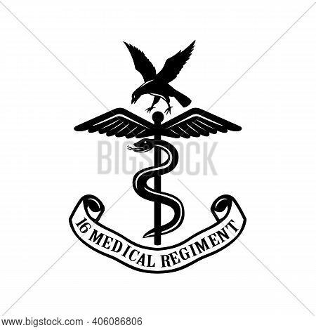 Retro Style Illustration Of The Badge Or Emblem Of The 16 Medical Regiment That Provides Dedicated M