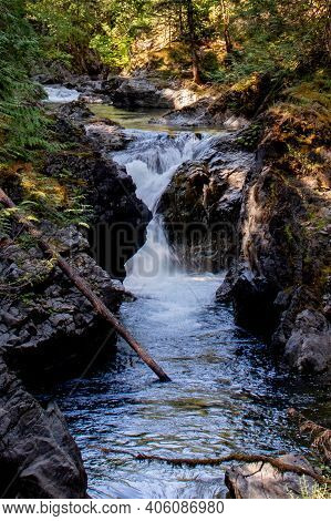 River Rushing To Its Destination - Englishman River Falls, Vancouver Island, Bc. Englishman River Is