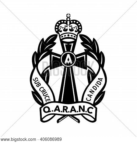 Illustration Of A Badge Queen Alexandra's Royal Army Nursing Corps Or Qaranc, The Nursing Branch Of