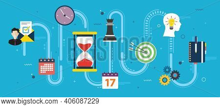 Time Management Strategy And Deadline. Teamwork, Leadership And Productivity In Business. Icon Desig