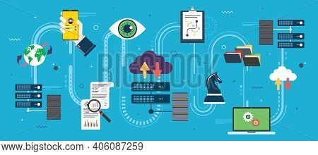 Computer Network Technology, Cloud Computing Infrastructure And Communication With The Server Databa