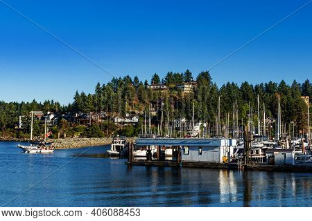 Picturesque Waterfront Of Gibsons, Bc. Gibsons Is A Lovely Town On The Sunshine Coast In British Col