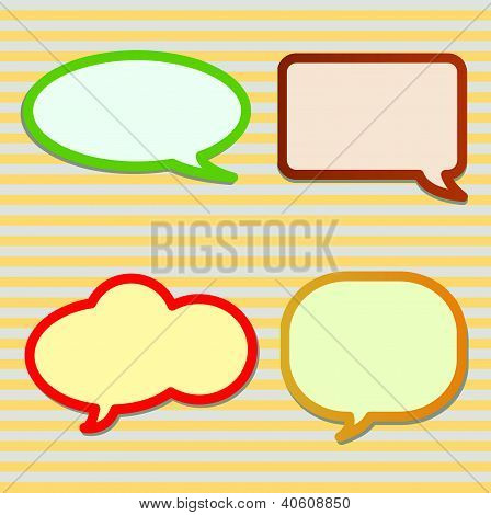 Thought Bubbles on Yellow and Grey Striped Pattern
