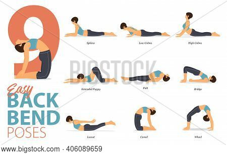 Infographic Of 9 Yoga Poses For Yoga At Home In Concept Of Easy Backbend In Flat Design. Woman Exerc