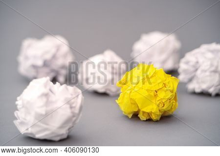 Inspiration Concept Crumpled Paper Metaphor For Choosing The Best Idea. Brainstorming For A Good Ide