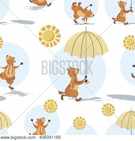 Groundhog Day. Marmot, Sun And Shadow. Groundhog Holding An Umbrella. Sunny Day. Seamless Pattern