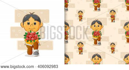 The Boy With The Unique Hair Is Kneeling And Giving A Bucket Of Flowers