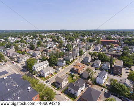 Waltham Moody Street Aerial View In City Of Waltham, Massachusetts Ma, Usa. Moody Street Is The Comm