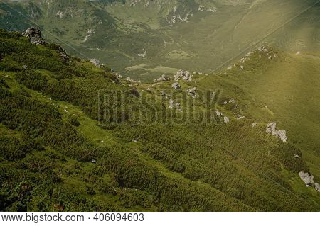 Carpathians Mountain Range At Summer Morning. Beauty Of Wild Virgin Ukrainian Nature. Peacefulness.