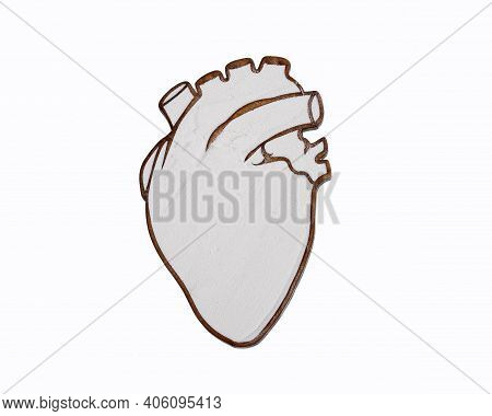 Baking Soda In The Heart-shaped Bowl - White Background