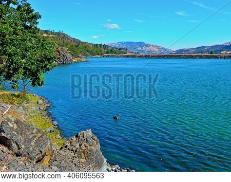 Lake In The Gorge - A View Looking East Across Rowland Lake In The Columbia River Gorge - Near Lyle,