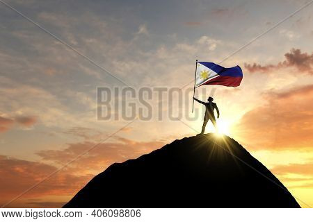 Phillipines Flag Being Waved At The Top Of A Mountain Summit. 3d Rendering