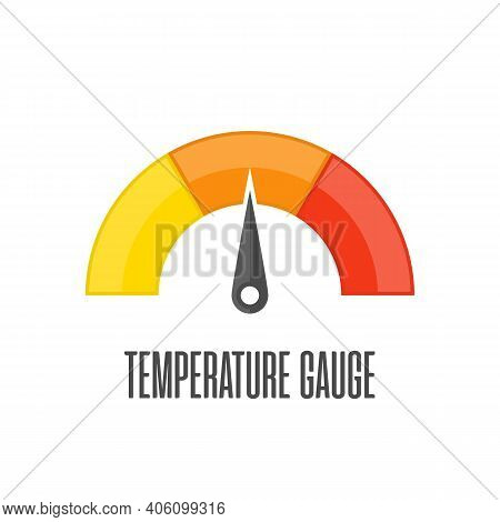 Round Temperature Gauge, Isolated On White Background. Colored Measuring Semicircle Scale In Flat St