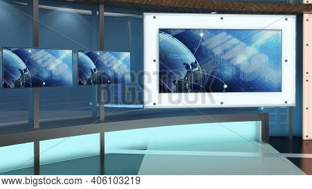 Virtual Tv Studio News Set 27. Green Screen Background. 3d Rendering. Virtual Set Studio For Chroma