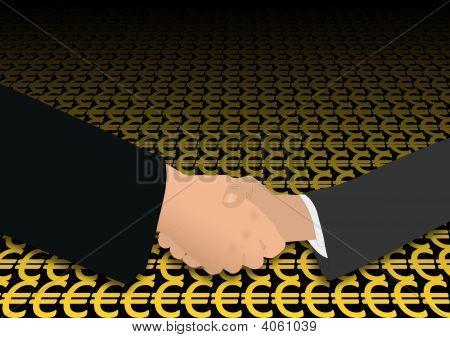Handshake Over Euro Symbols