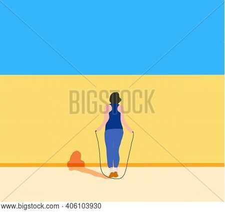Fitness Woman Skipping With A Jump Rope Outdoors. Female Doing Fitness Training In Morning. Healthy