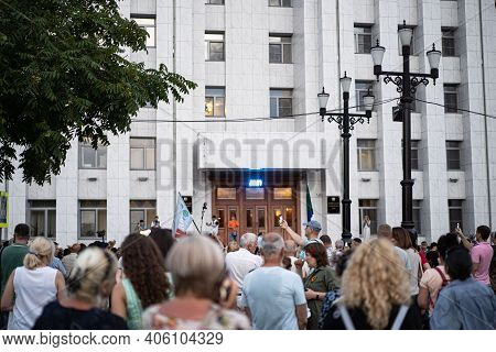 Khabarovsk, Russia - Jul 25, 2020: Furgal Sergey Ivanovich . Picket In Support Of The Governor Of Th