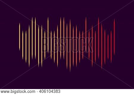 Vector Sound Wave. Abstract Technology Background. Sound Wave Purple Orange For Flyer Design. Stock