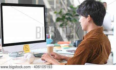 Computer Screen Mockup, Template Background, Office Man Typing Computer With Blank Screen At Coworki
