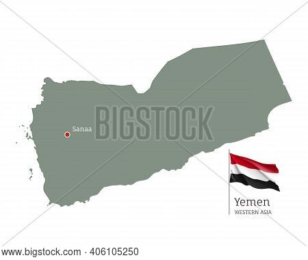 Silhouette Of Yemen Country Map. Highly Detailed Editable Map Of Yemen With National Flag And Sanaa