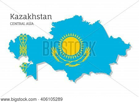 Map Of Kazakhstan With National Flag. Highly Detailed Editable Map Of Kazakhstan, Central Asia Count