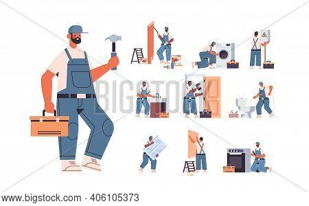 Set Mix Race Professional Repairmen In Uniform Making House Renovation Home Maintenance Repair Servi