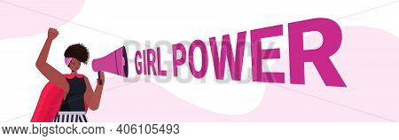 Girl Activist Screaming In Loudspeaker Female Empowerment Movement Women Power Concept Portrait Hori
