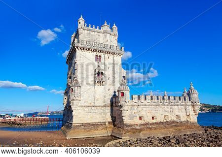 Belem Tower Symbol Of Lisbon . Architecture Attraction In Lisboa Portugal
