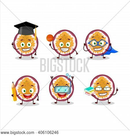 School Student Of Slice Of Passion Fruit Cartoon Character With Various Expressions
