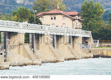 Italian Dam - Diga Di Olginate - Divides The Lakes Garlate And Olginate, Regulates The Lake Como Lev