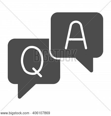 Question And Answer Dialogues Solid Icon, Online Education Concept, Q And A Word In Speech Bubble Si