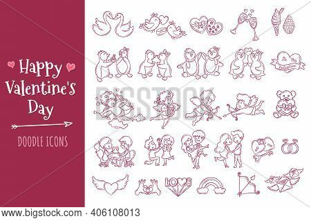 Valentine's Day Doodle Icons Set. Collection Of Valentine's Day Elements