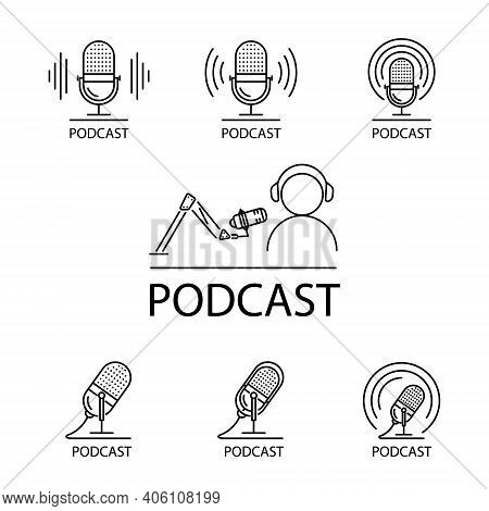 Podcast Icon Isolated On White Background. Podcast Icon Trendy And Modern Podcast Symbol For Logo, W
