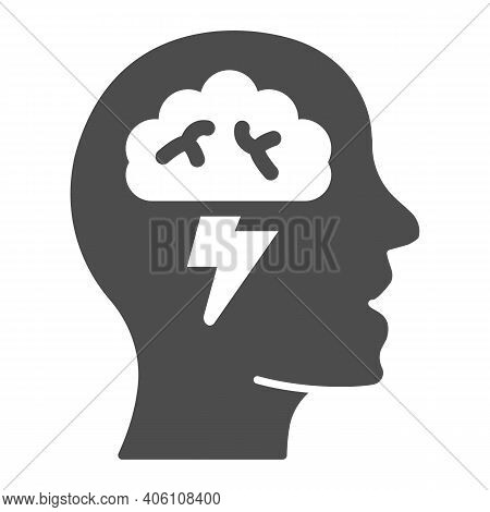 Human Head With Brain And Lightning Solid Icon, Startup Concept, Brainstorm And Ideas Sign On White