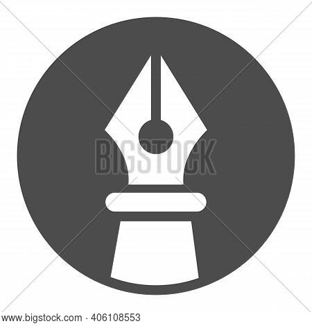 Ink Pen In Circle Solid Icon, Online Education Concept, Fountain Pen Sign On White Background, Old I